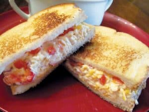 A pimiento cheese sandwich grilled to GBD (golden brown delicious!)