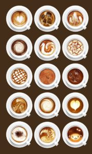 Gourmet coffee with latte Art