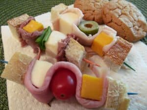 meat, cheese and vegetables on skewers for a healthy fun lunch