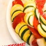 Zucchini and Yellow Squash Au Gratin | zucchini and yellow squash | ZUCCHINI AND YELLOW SQUASH AU GRATIN WITH SUMMER TOMATOES AND VIDALIA ONION