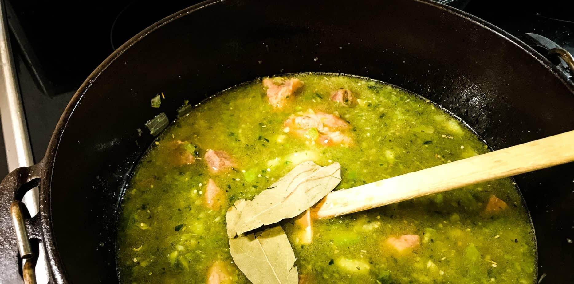 chili verde prepared in cast iron pot