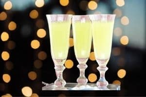 Champagne flutes with a halloween cocktail